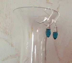 Hand wire-wrapped faceted tear drop $18
