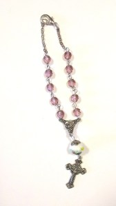 Mauve glass beads with perfect lampwork $14