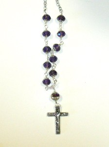Deep Purple faceted glass and cross $12