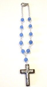 Blue quartz with sterling/wood crucifix $18